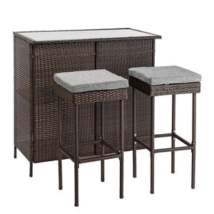 Outdoor 3-Piece Brown Wicker Bar Set Glass Bar and Two Stools with Cushions Garden Table and chairs Leisure Outdoor Furniture
