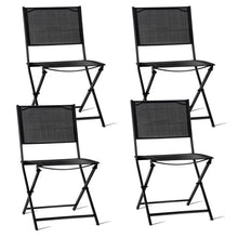 Load image into Gallery viewer, Set of 4 Outdoor Patio Folding Sling Chairs Textile Fabric Steel Tube Outdoor Chair Set Lightweight Beach Style Furniture Sets
