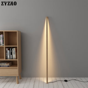 Nordic Living Room Bedroom Floor Lamp Home Decor Atmosphere Standing Lamp Minimalist Luxury Led Vertical Solid Wood Floor Lights