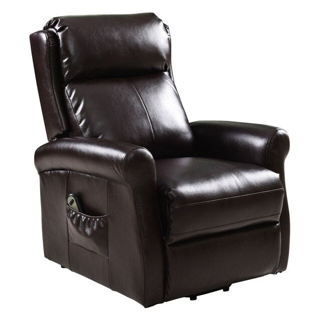 High Quality Adjustable Brown Electric Lift Chair Recliner Soft High-density Sponge Living Room Leather Couch Footrest HW54390