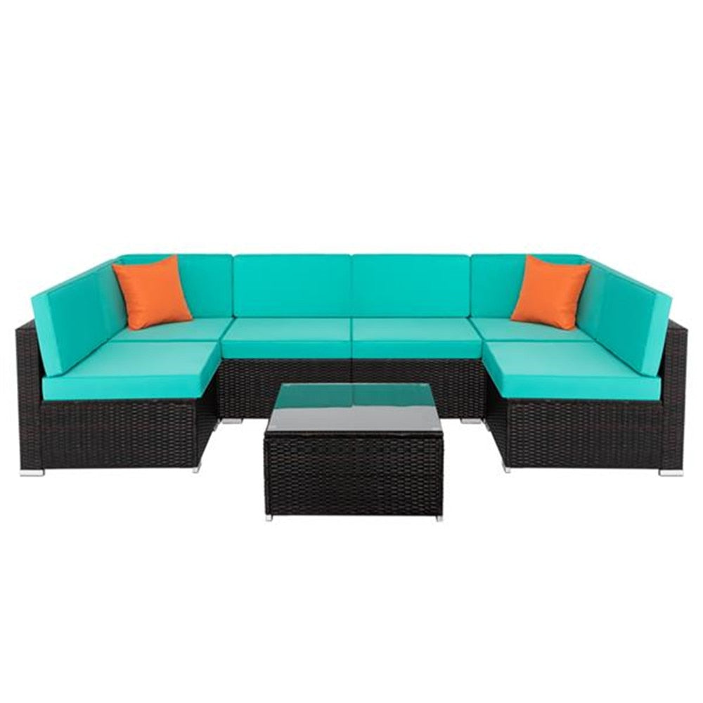 New Arrival 7pcs Fashion Rattan Sofa Furniture Set Fashion Sofa Set For Summer
