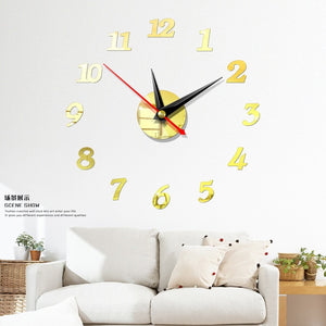 New Clock Watch  3d Wall Clocks Diy Acrylic Mirror Stickers Home Decoration Living Room Quartz Needle