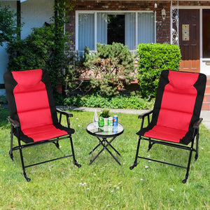 Costway 3 PCS Outdoor Folding Rocking Chair Table Set Bistro Sets Patio Furniture Red - LikeRE Marketplace