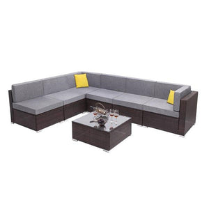 7 Pieces Patio PE Wicker Rattan Corner Sofa Set Outdoor sofa Rattan Sofa Set - LikeRE Marketplace