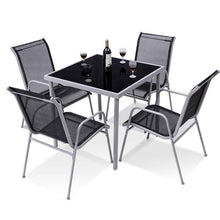 Load image into Gallery viewer, 5 Pieces Bistro Set Garden Chairs and SquareTable Set Steel Patio Outdoor Furniture Sets HW56649 - LikeRE Marketplace