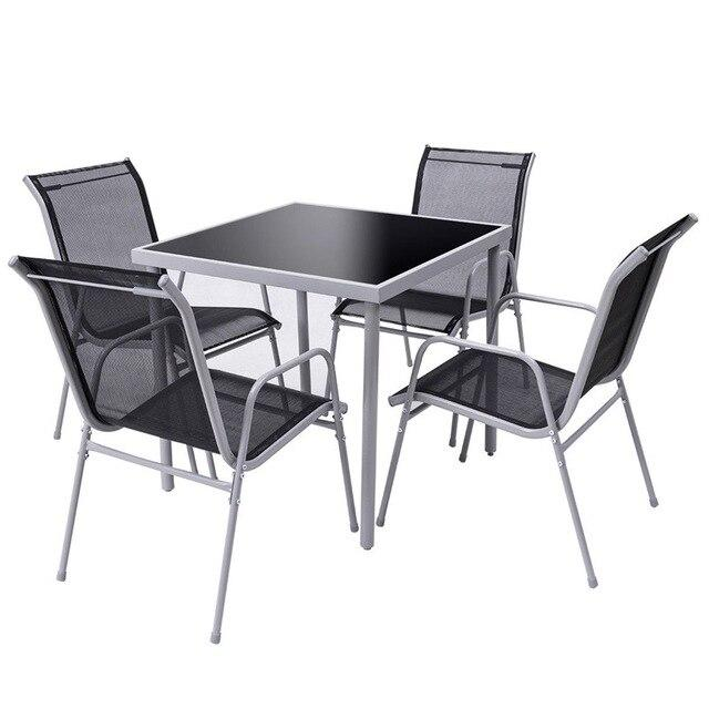 5 Pieces Bistro Set Garden Chairs and SquareTable Set Steel Patio Outdoor Furniture Sets HW56649 - LikeRE Marketplace