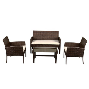 4 pcs Patio Steel Frame Coffee Table Furniture Set Sturdy Powder-coated Metal Frame W/ Cushion Outdoor Furniture - LikeRE Marketplace