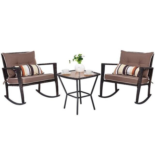 3 Pcs Patio Rattan Wicker Furniture Set Rocking Chair Coffee Table Modern High Quality Garden Outdoor Patio Furniture HW57335 - LikeRE Marketplace