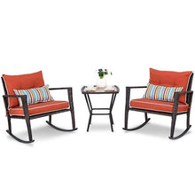 Load image into Gallery viewer, 3 Pcs Patio Rattan Wicker Furniture Set Rocking Chair Coffee Table Modern High Quality Garden Outdoor Patio Furniture HW57335 - LikeRE Marketplace