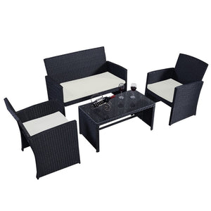 Outdoor 4pcs/set Patio Garden Chairs Table Wicker Rattan Cushioned Sofa Furniture Set HW49859
