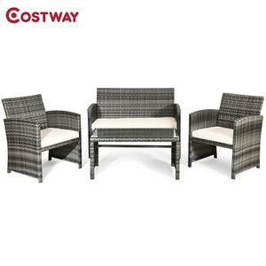 COSTWAY Outdoor Patio 4 Pcs Patio Rattan Furniture Set Top Sofa With Glass Table HW63238