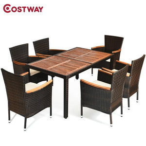 7 Pcs Outdoor Patio Dining Set Garden Dining Set Exquisite Rattan Delicate Acacia Wood Sturdy Steel Frame Comfortable Cushions - LikeRE Marketplace