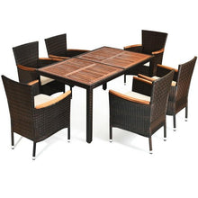 Load image into Gallery viewer, 7 Pcs Outdoor Patio Dining Set Garden Dining Set Exquisite Rattan Delicate Acacia Wood Sturdy Steel Frame Comfortable Cushions - LikeRE Marketplace