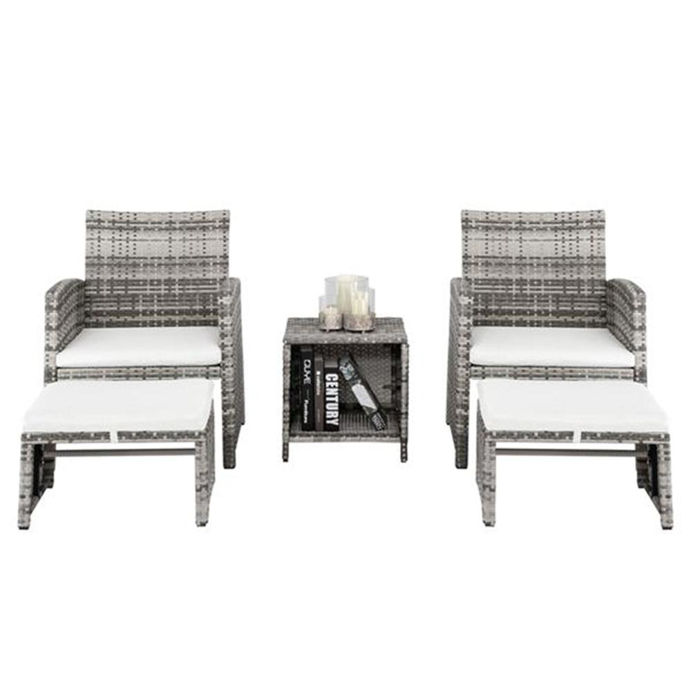 5pcs 2 Chairs 2 Footstools 1 Coffee Table Combination Sofa Gray Gradient Garden Chairs Set - LikeRE Marketplace
