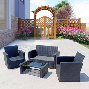 4PCS Outdoor Furnitures Rattan Garden furniture Table Chairs Sofa Set with Coffee Table Sectional Set - LikeRE Marketplace