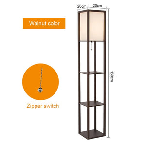 Maxwell LED Shelf Floor Lamp Modern Asian style floor light with soft diffusing white shades wood frame shelf home lightings