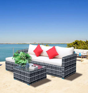 5pcs Outdoor Furnitures Patio Sectional Garden Sofa Set with Glass Coffee Table All-Weather PE Rattan Wicker Sets - LikeRE Marketplace