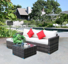 Load image into Gallery viewer, 5pcs Outdoor Furnitures Patio Sectional Garden Sofa Set with Glass Coffee Table All-Weather PE Rattan Wicker Sets - LikeRE Marketplace