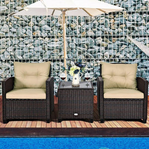 3PCS Patio Rattan Furniture Set Premium Hand Woven Rattan Sturdy Steel Frame Ergonomically Sofas Soft Cushions Outdoor Furniture - LikeRE Marketplace