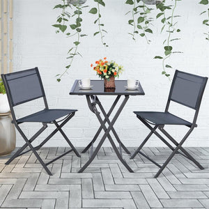 Costway 3PCS Bistro Set Garden Backyard Table Chairs Outdoor Patio Furniture Folding - LikeRE Marketplace