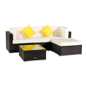 5 Pieces UV resistant Patio PE Wicker Rattan Corner Armless Sofa Set with 2 Pillow 9 washable Breathable waterproof Cushion - LikeRE Marketplace