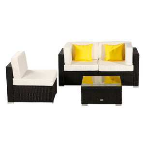4 Pieces Patio PE Wicker Rattan Corner Armless Sofa Set with 2 Pillow 8 washable Breathable waterproof Cushion UV resistant - LikeRE Marketplace