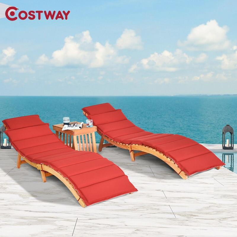 COSTWAY 3PCS Wooden Folding Patio Lounge Chair Table Set Outdoor Furniture Set HW63882 - LikeRE Marketplace