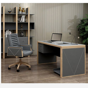 Grey Wooden Leather Office Home Study Room Furniture Small Computer Standing Learning Table Deskstop Set  Executive Tables