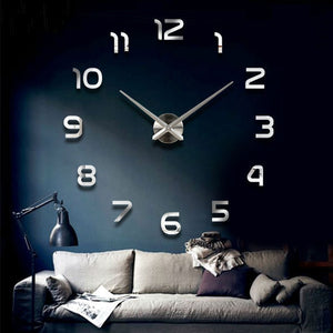 Fashion 3D big size wall clock mirror sticker DIY brief living room decor meetting room wall clock