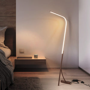 Nordic Coffee Simple Floor Lamp Aluminum Standing Lamp Length Floor Light Foyer Living Room Lamp Stand LED Fixtures