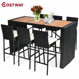 COSTWAY 7 Pcs Patio Rattan Wicker Acacia Wood Table Top Outdoor Dining Furniture Set Reinforced Steel Frame 6 Bar Chairs - LikeRE Marketplace