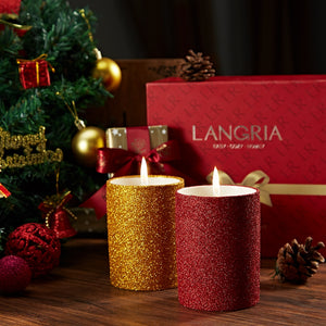 LANGRIA 3 In1 Christmas Candles Kit Candle Snuffer & Wick Trimmer Glittering Ceramic Cup Set with Exquisite Christmas Gift Box