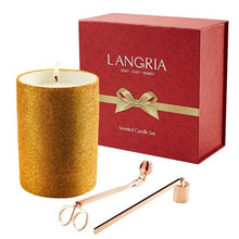 Load image into Gallery viewer, LANGRIA 3 In1 Christmas Candles Kit Candle Snuffer & Wick Trimmer Glittering Ceramic Cup Set with Exquisite Christmas Gift Box