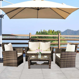 Outdoor Patio Furniture Rattan Sofa Combination Chair Four Piece Package-Gray Package-1 (Combination Total 2 Boxes)