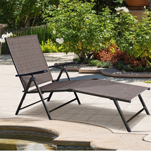 Load image into Gallery viewer, Outdoor Adjustable Chaise Lounge Chair Folding Sun Loungers Patio Furniture HW49889