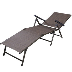 Outdoor Adjustable Chaise Lounge Chair Folding Sun Loungers Patio Furniture HW49889