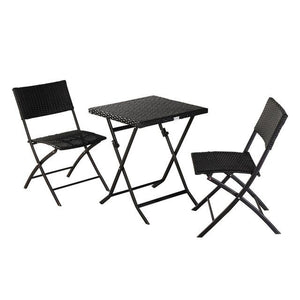 1 set folding rattan chair with table Portable Camping Chairs Folding Outdoor garden Chair Home Furniture - LikeRE Marketplace