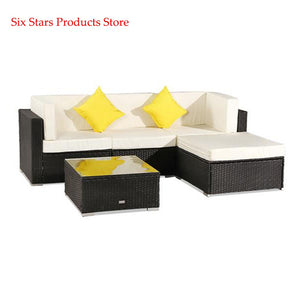 Oshion 5 Pieces Patio PE Wicker Rattan Corner Sofa Set Modular garden sofa Rattan Sofa Outdoor Sofa