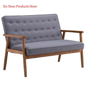 126 x 75 x 83.5cm Two-person Retro Fabric Lounge Chair Retro Modern Wood Double Sofa Chair Leisure Chair Light Gray Fabric - LikeRE Marketplace