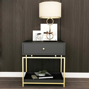 Luxury Modern Iron Casting Golden Nightstand Coffee End Bedside Table Home Furniture Nightstands Cabinet Cupboard Living Room