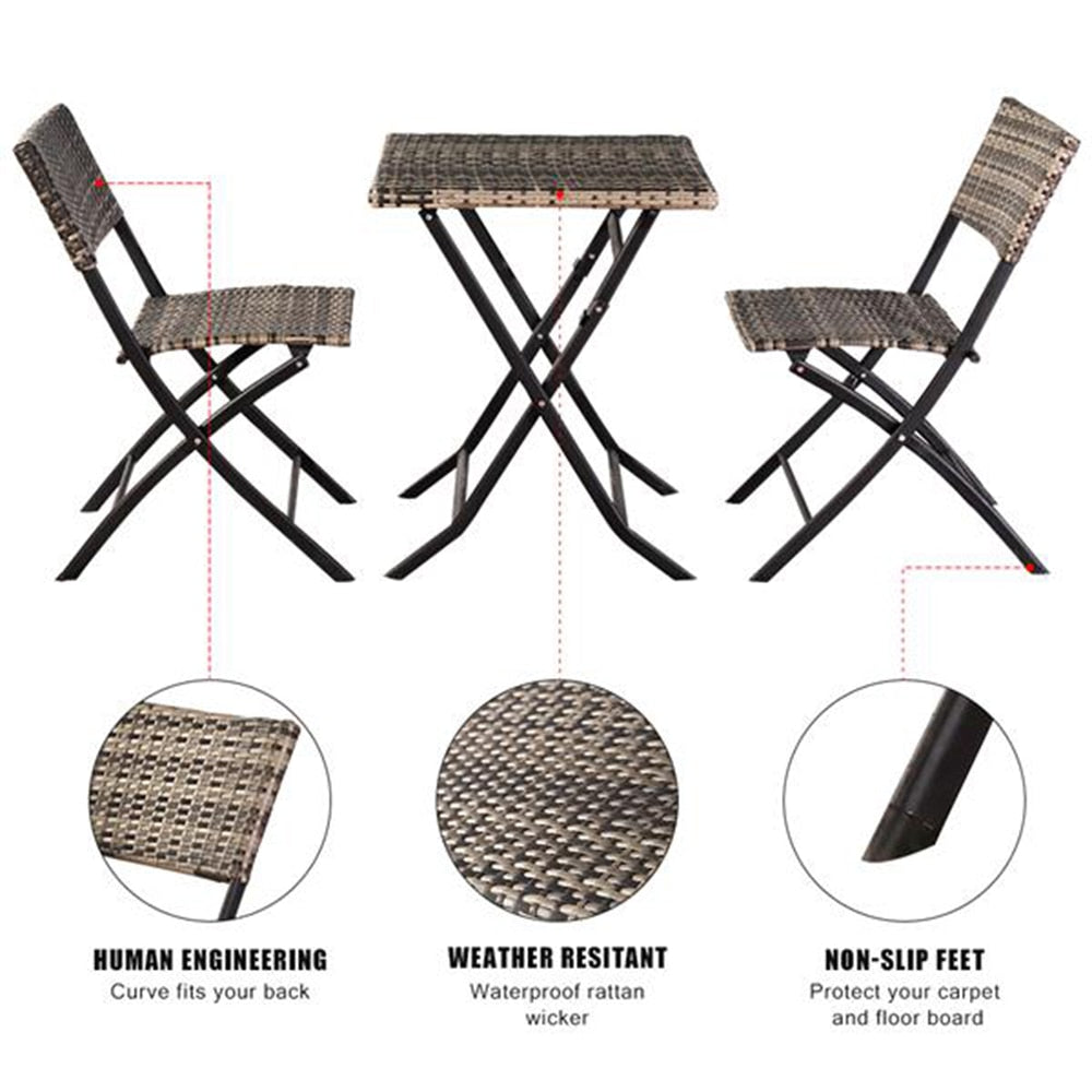 Furniture Sofa Outdoor Garden Chair Set Oshion Folding Rattan Chair Three-Piece Square Table-Grey In Stock
