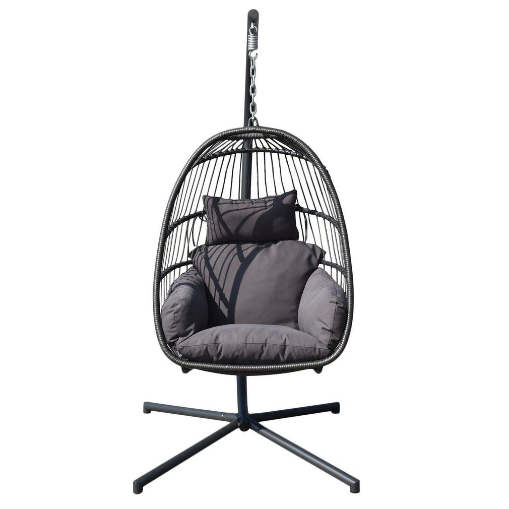 (Ship From DE)Indoor Outdoor Nordic Style Patio Swing Hanging Basket Chair Single Person Balcony Bird Nest Chair With Cushion - LikeRE Marketplace