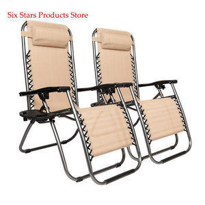 2pcs Plum Blossom Lock Portable Folding Chairs with Saucer Khaki  Outdoor Beach Chair for Trave Camping - LikeRE Marketplace