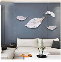 Load image into Gallery viewer, Modern Minimalist Light Luxury Feather Wall Clock Wall Mural Crafts Home Livingroom Wall Hanging Decoration Office Ornaments Art