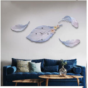 Modern Minimalist Light Luxury Feather Wall Clock Wall Mural Crafts Home Livingroom Wall Hanging Decoration Office Ornaments Art