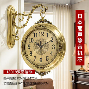 Double-sided Luxury Wall Clock European Style Large Decorative Creative Wall Clocks Reloj De Pared Home Decor Clocks OO50DW