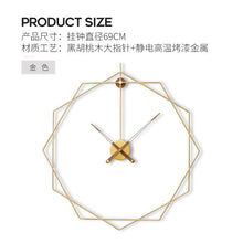Load image into Gallery viewer, Luxury Minimalist Wall Clock Gold Large Modern Creative Metal Clocks Wall Living Room Nordic Horloge Mural Home Decor ZB5WC
