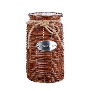 Retro Chinese Wicker Woven Storage Basket Flower Plants Straw Pots Vase Bag Home Decor
