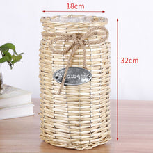 Load image into Gallery viewer, Retro Chinese Wicker Woven Storage Basket Flower Plants Straw Pots Vase Bag Home Decor