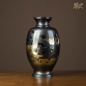 14.3in Japan Takaoka Douki Art Deco  Pure Brass Chinese phoenix Vase Pot Decoration Home Furnishings Gift Statue - LikeRE Marketplace
